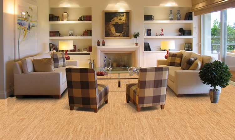 cork flooring in the living room with furniture