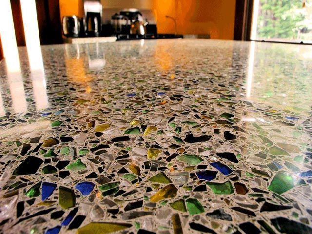 recycled colorful broken glasses flooring