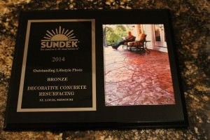 Decorative Concrete Resurfacing – Wins 2014 National Sundek Award – Stamped Concrete Overlay Patio