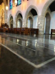 Church flooring with stain application