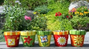 repurposed flower pots