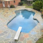 decorative stamped concrete pool deck