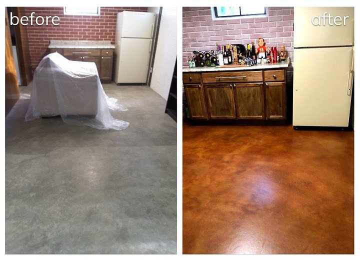stained concrete basement before and after