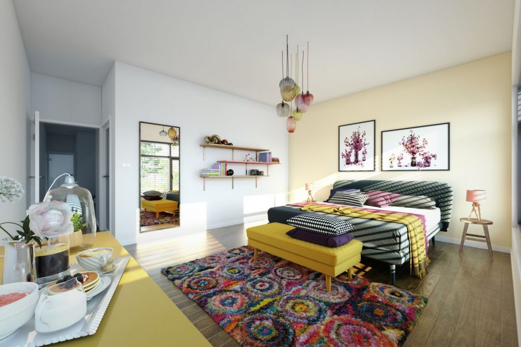 bright lighting room with colorful beddings